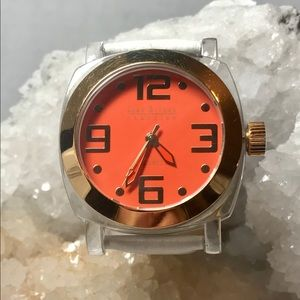 Joan Rivers White Orange Gold Leather Band Watch